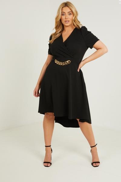 Curve Black Chain Skater Dress